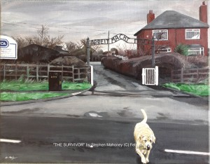 """THE SURVIVOR - I personally took the photos here and worked from two to create this piece, adding that imfamous sign over the gate (from the Auschwitz concentration camp) for the purpose of highlighting the mass euthanasia that takes place daily within rescue centres, due to the irresponsibilty of many (ex)dog owners and breeders alike. Done in acrylics on 18x14"""" box canvas (FEB '16) NOT FOR SALE"""