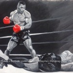 TYSON V BERBICK - commission painted on 40x50cm canvas paper and then mounted/framed (Nov '19) SOLD