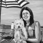 "ALICIA AND TUGGER - final painting of 2017, a 12x9"" acrylic painting done from 6/7 photos sent by the client. Taking 16hrs overall (NOV '17) SOLD"